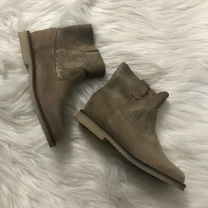 Zara Girl Taupe Leather Suede Ankle Boots Size 28